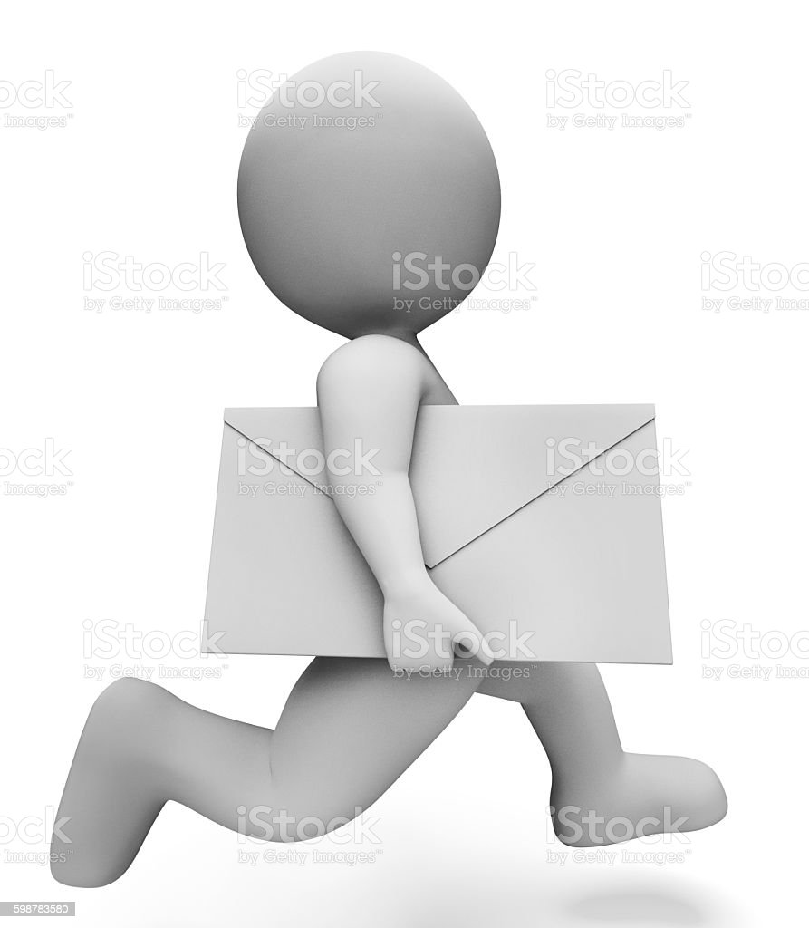 Deliver Character Indicates Fast Delivery And Communication 3d R stock photo