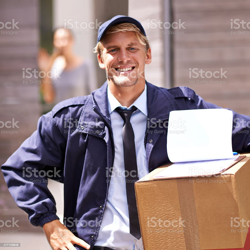 I deliver packages quickly and safely. What's your superpower? stock photo