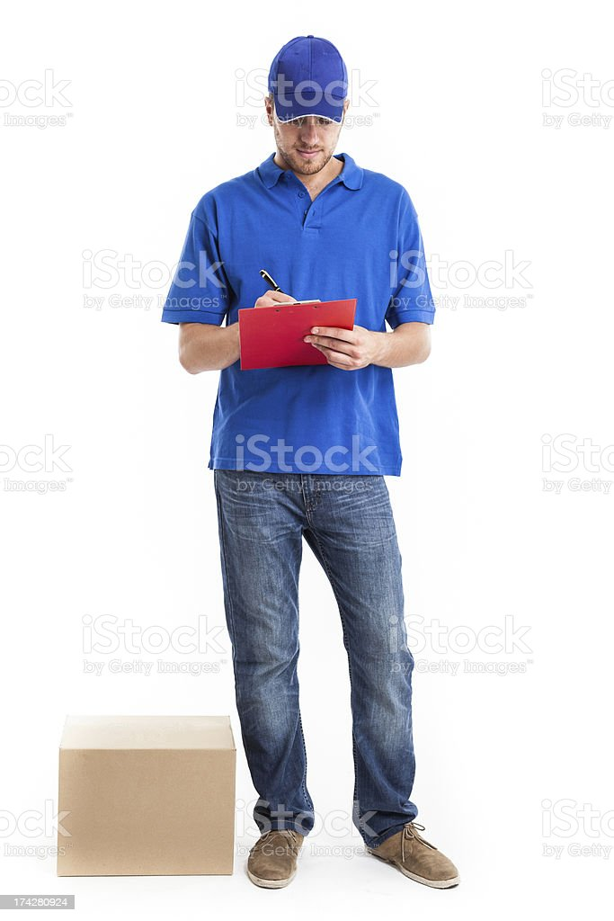 Deliverer full length portrait stock photo