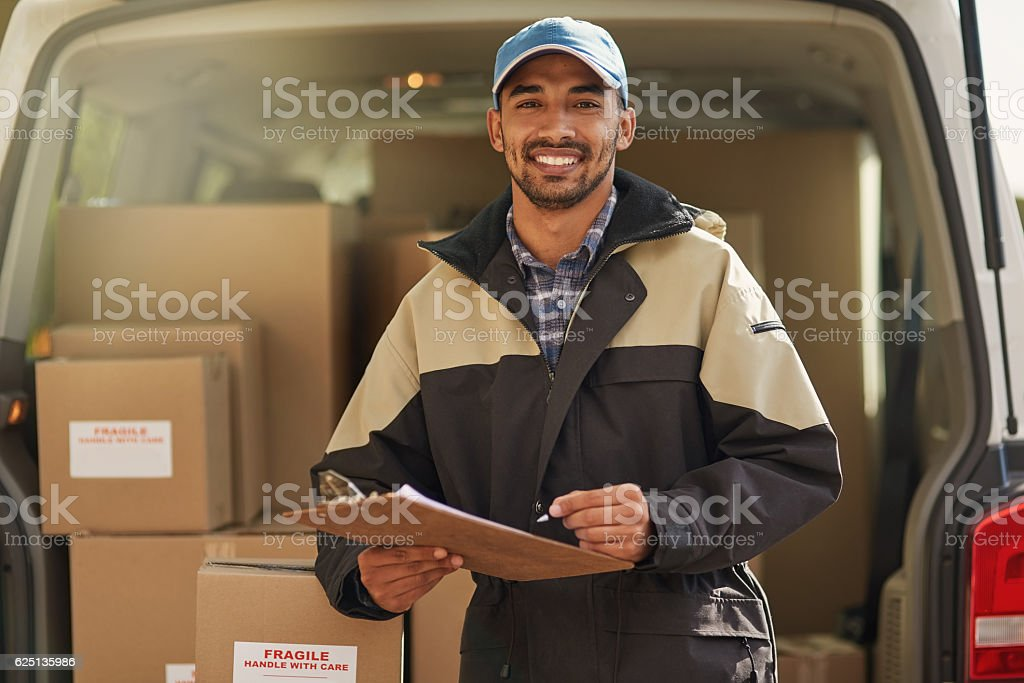 Deliveries are right on schedule stock photo