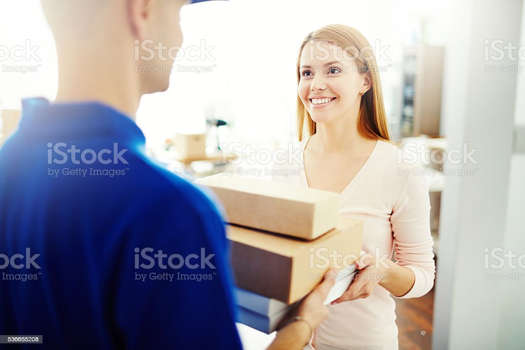Delivering a parcel stock photo
