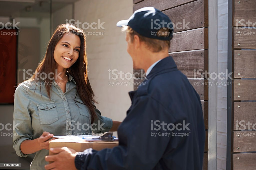 Delivering delight stock photo