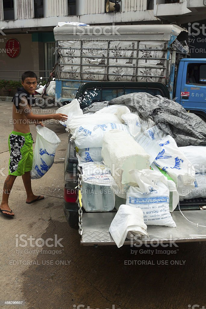 Delivering ice stock photo
