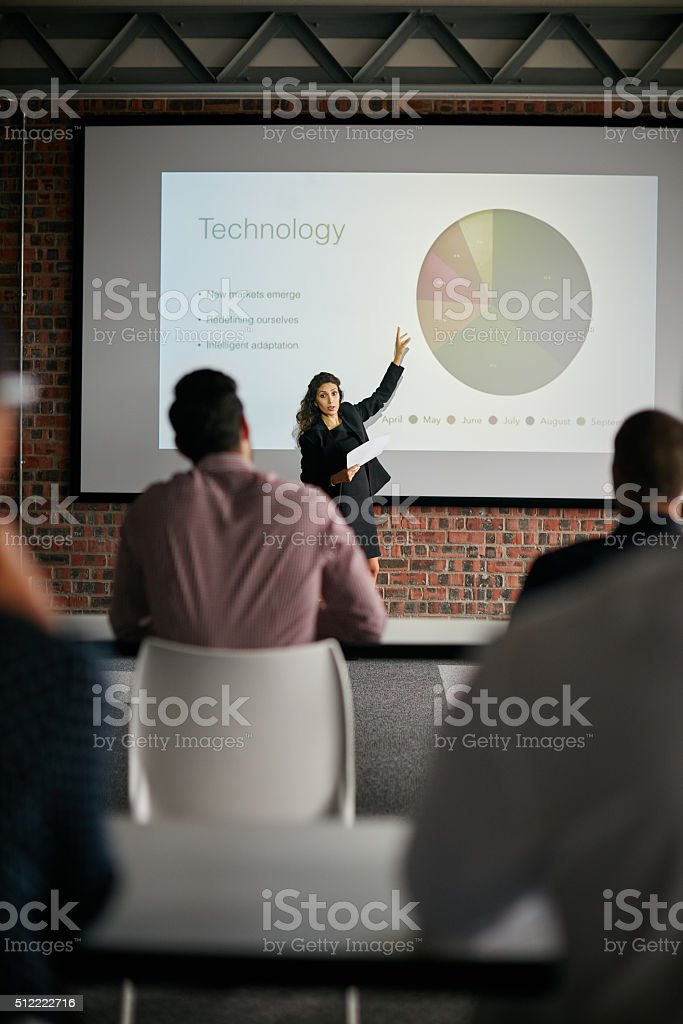 Delivering important quarterly updates stock photo