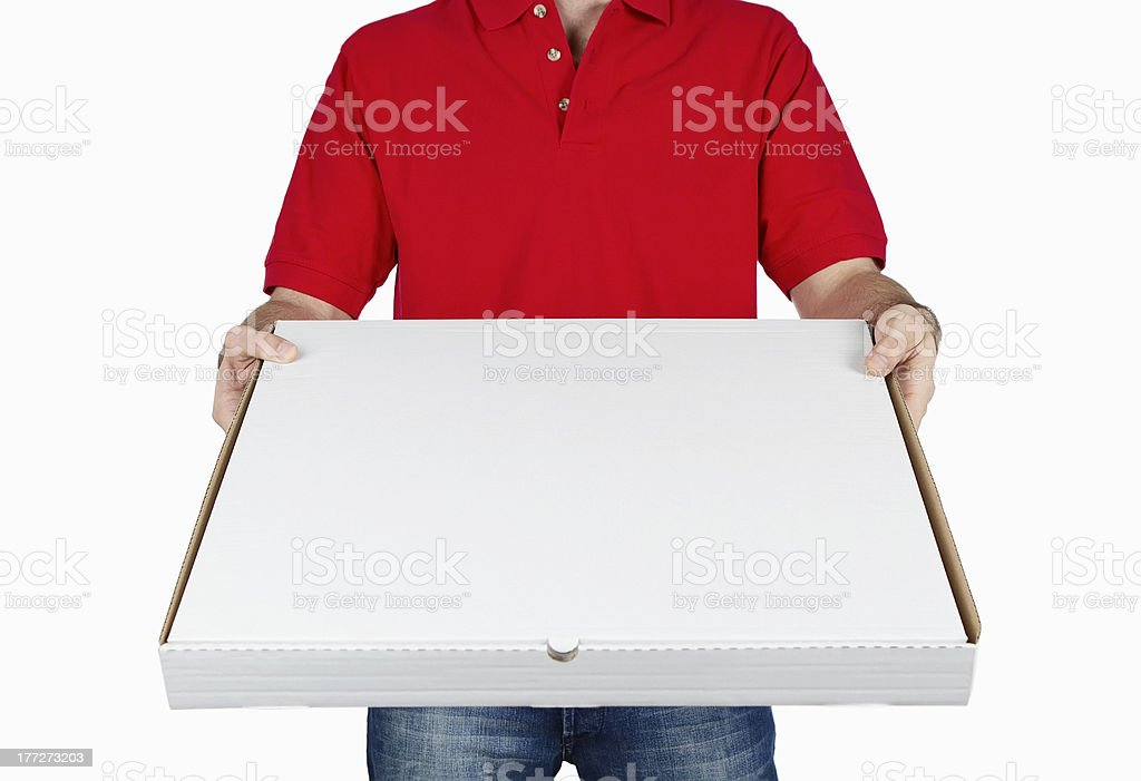 Delivering pizza stock photo