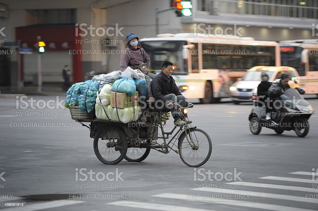 Delivering tricycle in Shanghai stock photo
