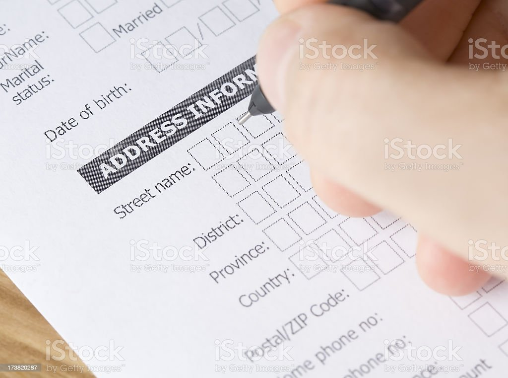 Delivery address stock photo