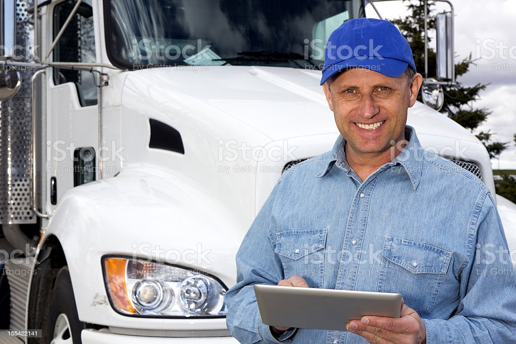 Delivery and Tablet royalty-free stock photo
