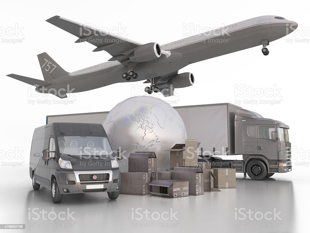 Delivery and transportation of goods anywhere in the world stock photo