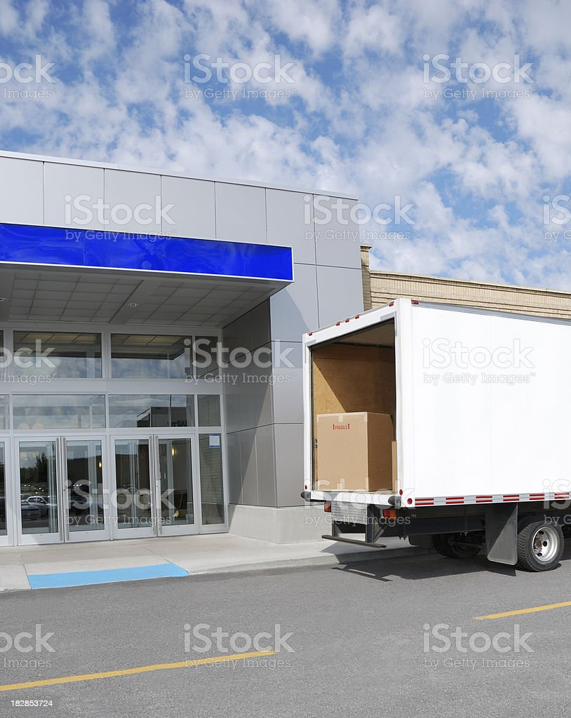 Delivery at door. stock photo