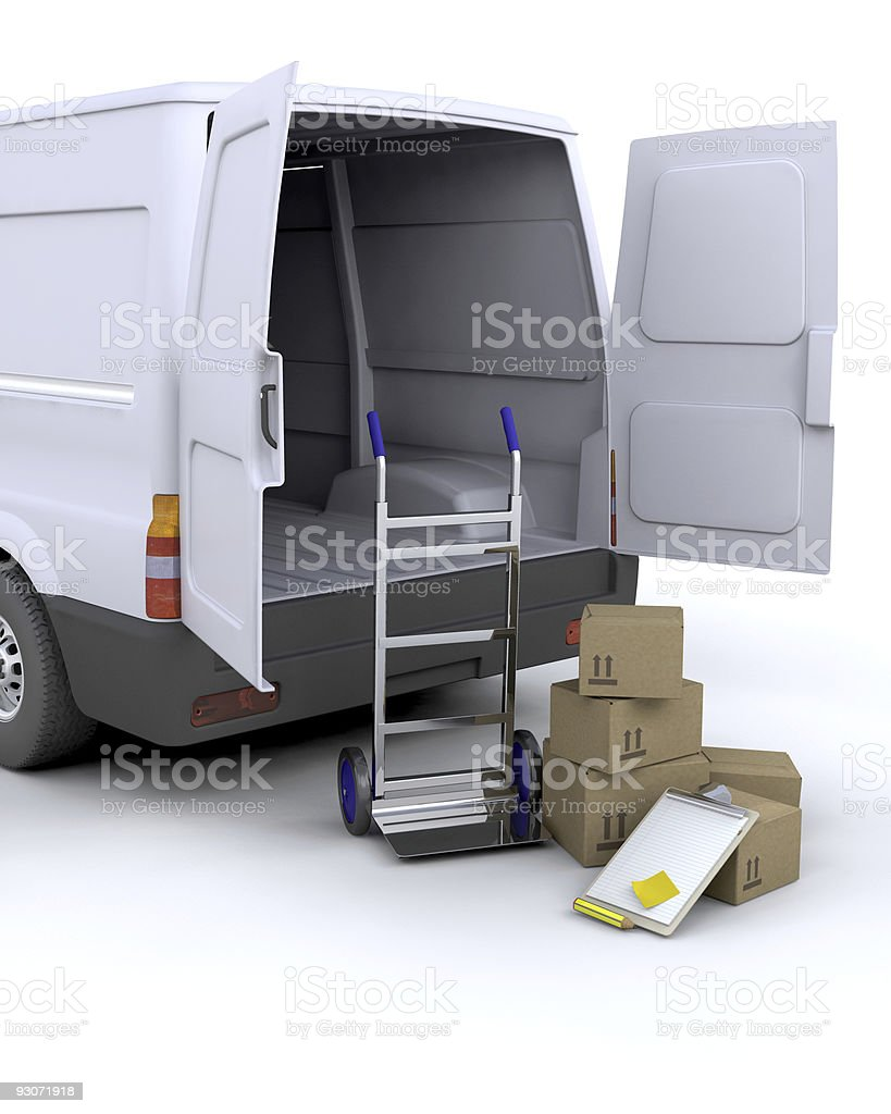 Delivery Boxes and van royalty-free stock photo