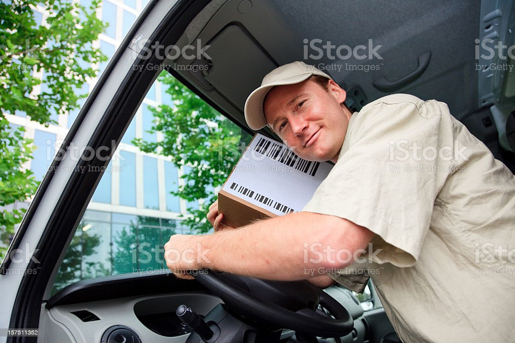 delivery boy and white van royalty-free stock photo