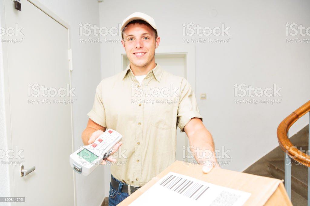 delivery boy stock photo