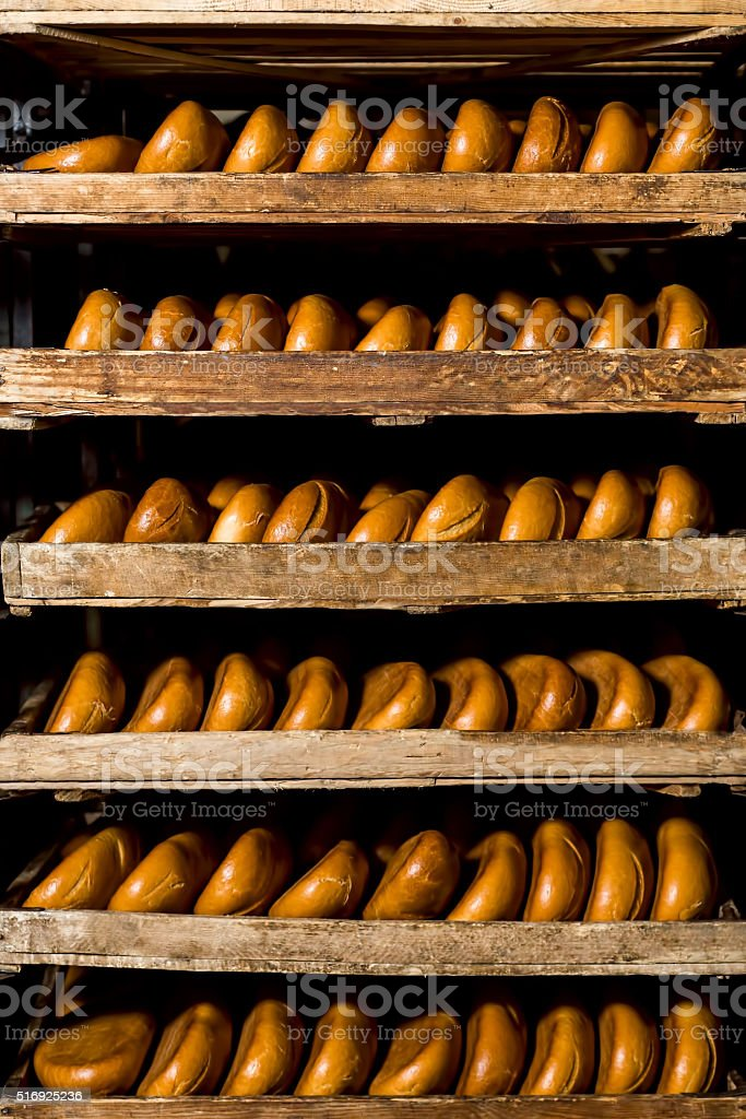 Delivery bread in bakery shop. stock photo