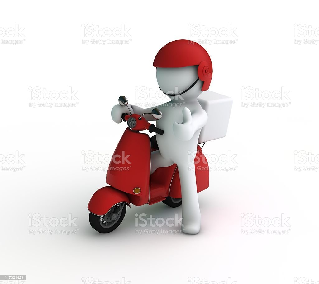 Delivery character scooter. royalty-free stock photo