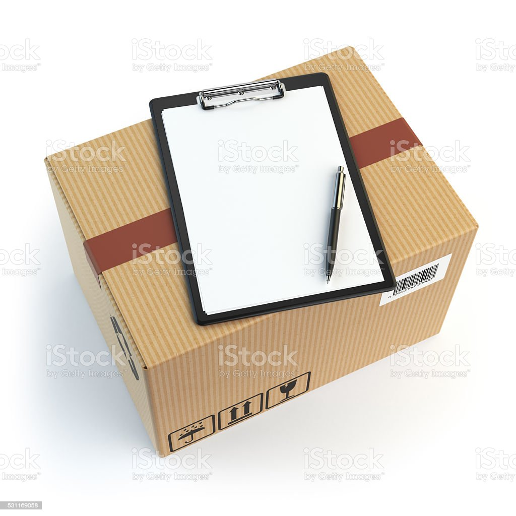 Delivery concept. Cardbox, pen and clipboard with receiving form stock photo