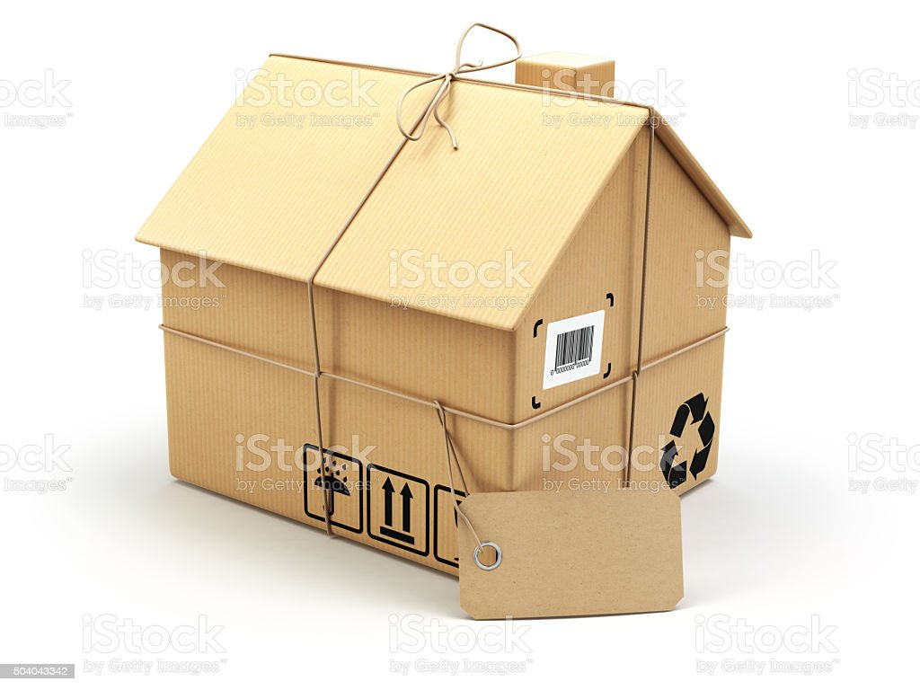 Delivery concept. Moving house.Real estate market.  Cardboard bo stock photo