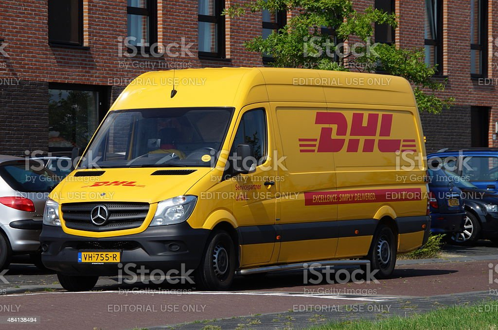 DHL delivery delivery van - Deutsche Post Mercedes Sprinter stock photo