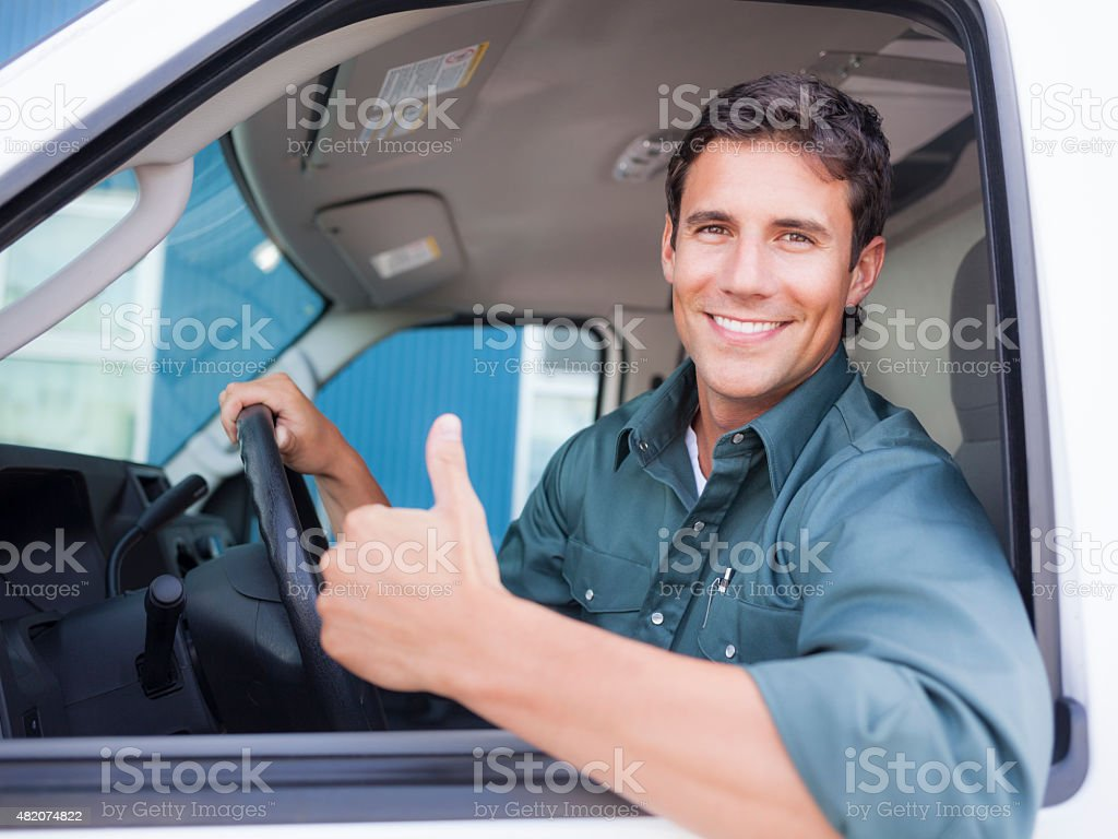 Delivery Driver Giving Thumbs Up stock photo