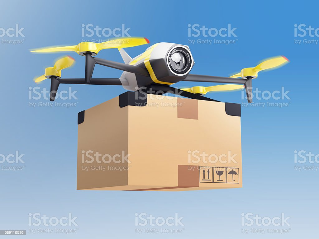 delivery drone with a package in the sky stock photo