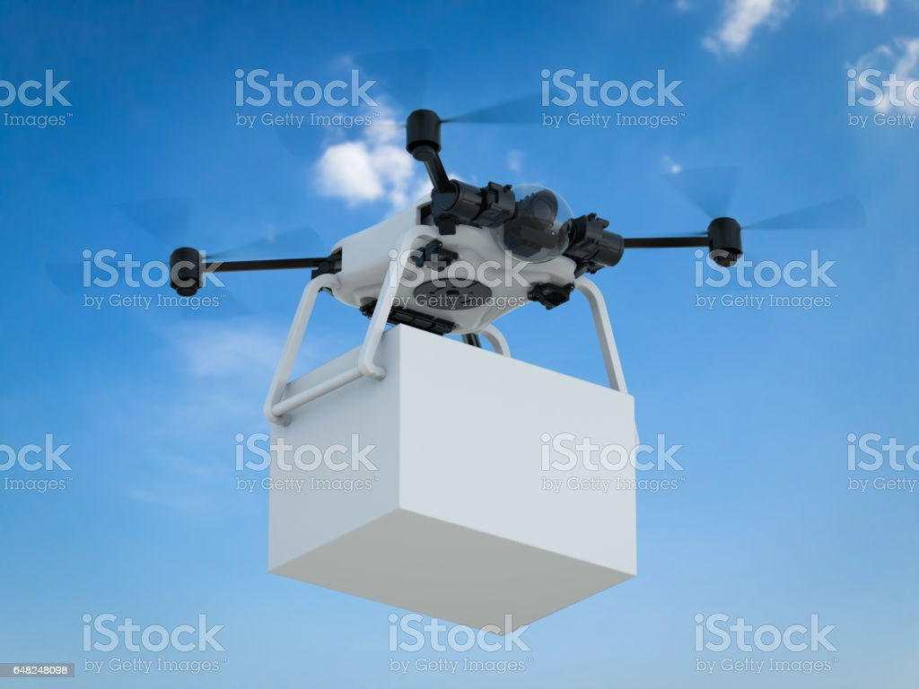 delivery drone with box stock photo