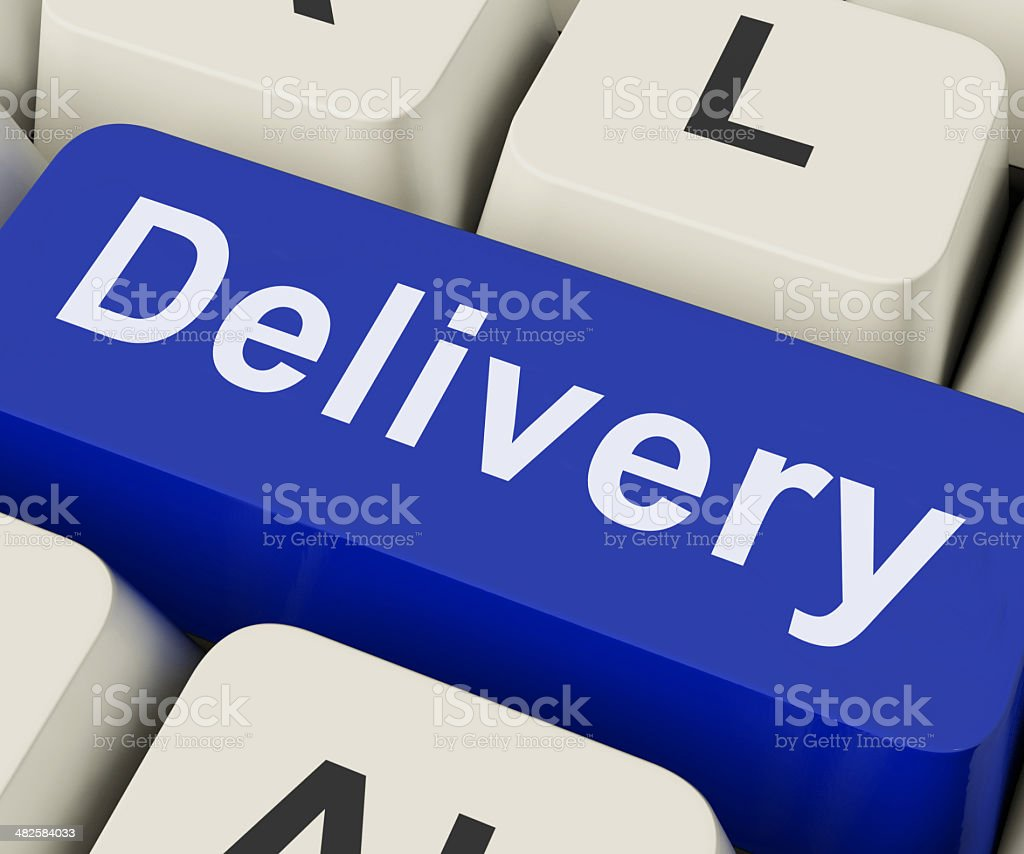 Delivery Key Means Distribution Or Transmission stock photo