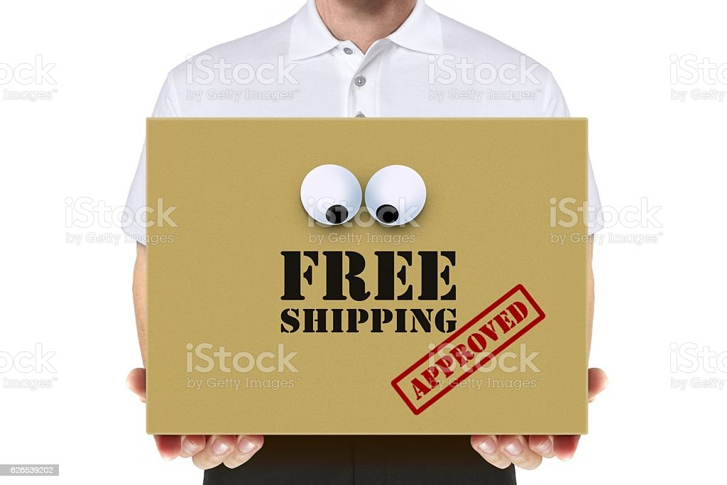 Delivery man carry a free shipping parcel over white stock photo