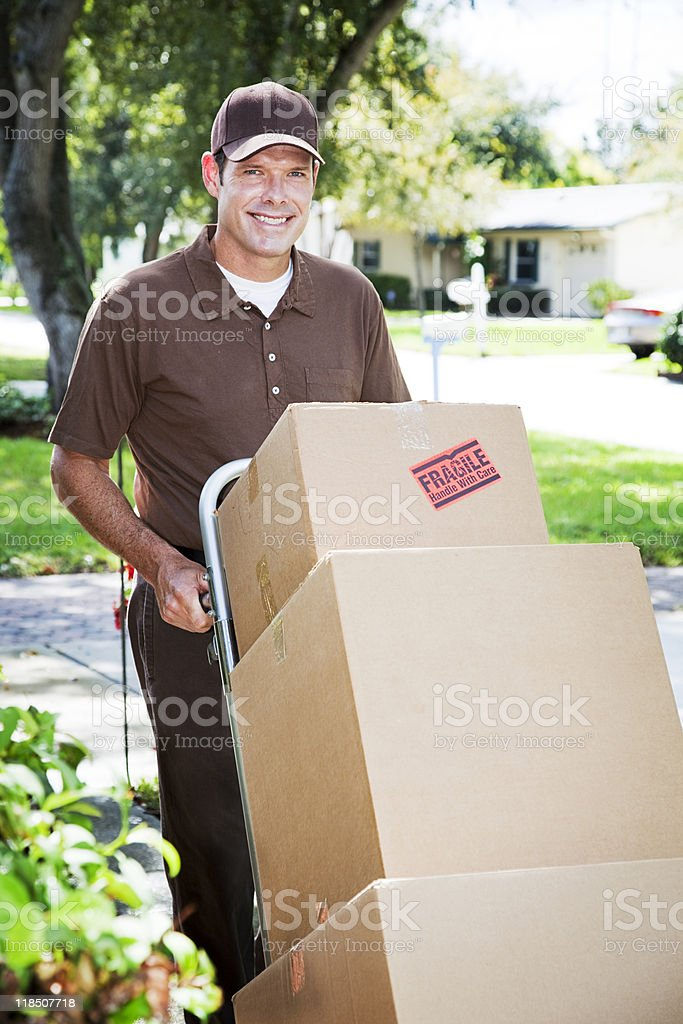 Delivery Man or Mover Outdoors royalty-free stock photo