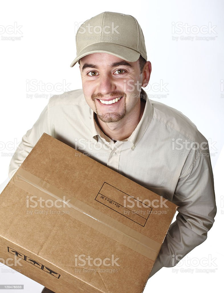 delivery man stock photo