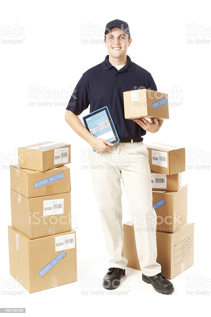 Delivery Man with Digital Tablet and Packages on White Background royalty-free stock photo