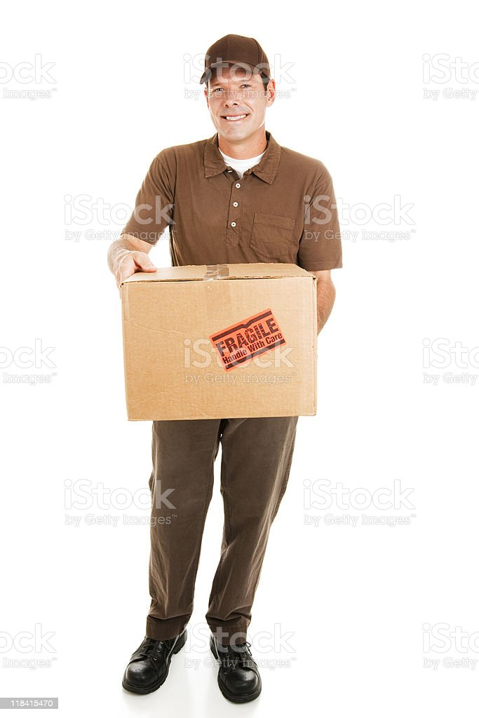 Delivery Man with Package - Full body royalty-free stock photo