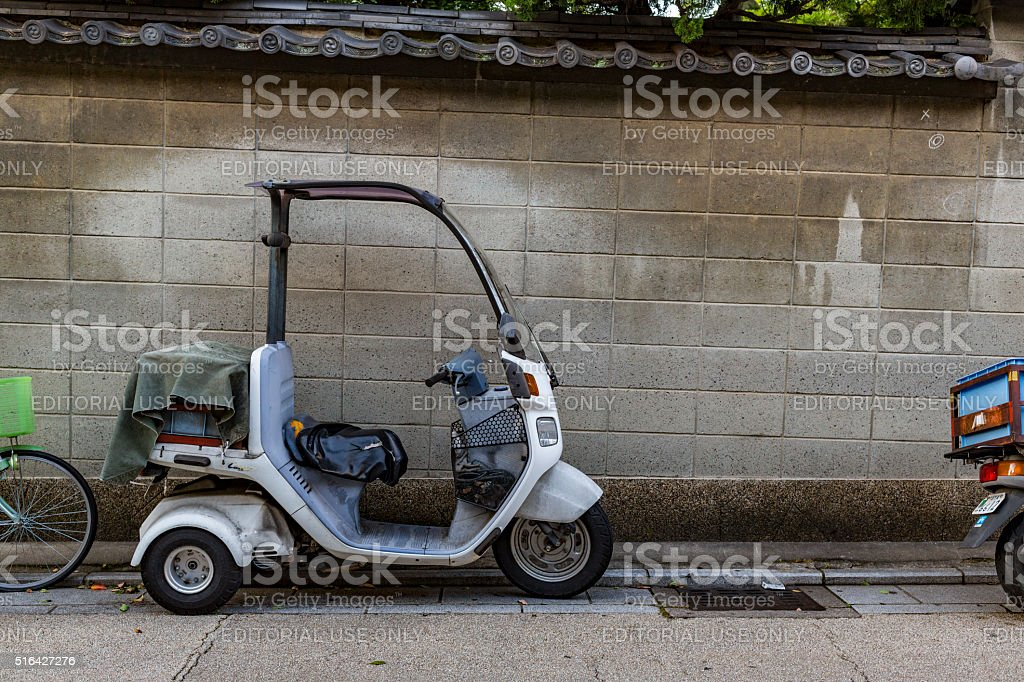 Delivery Motorcycle Trike on the Streets of Kyoto Japan stock photo