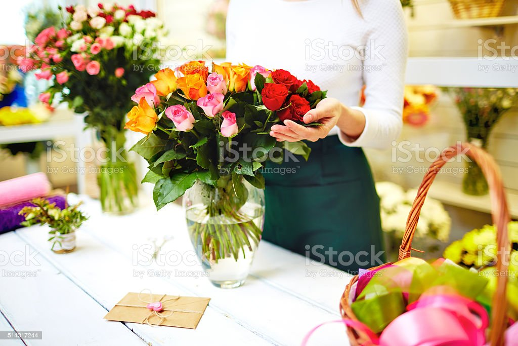 Delivery of flowers stock photo