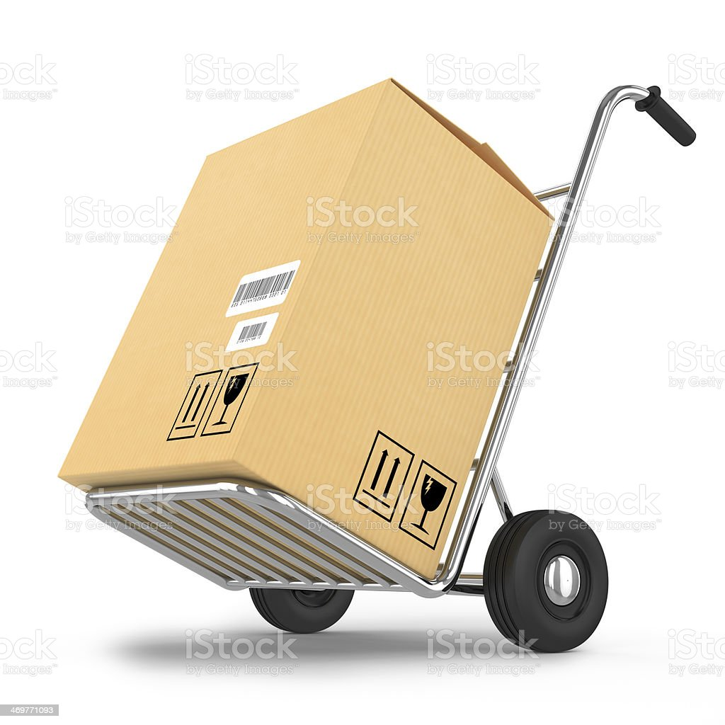 Delivery package on a cart stock photo