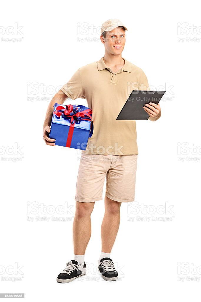 Delivery person delivering a gift royalty-free stock photo