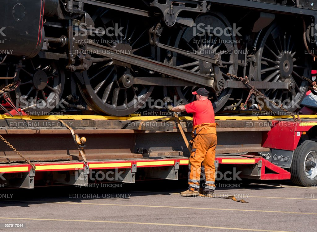 Delivery preparations for a steam engine stock photo