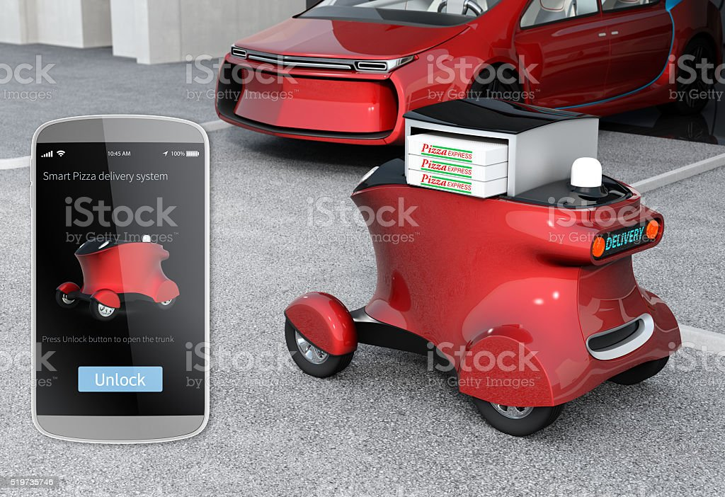 Delivery robot in front of the garage stock photo