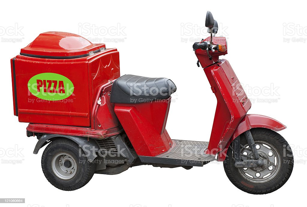 Delivery scooter for pizza royalty-free stock photo