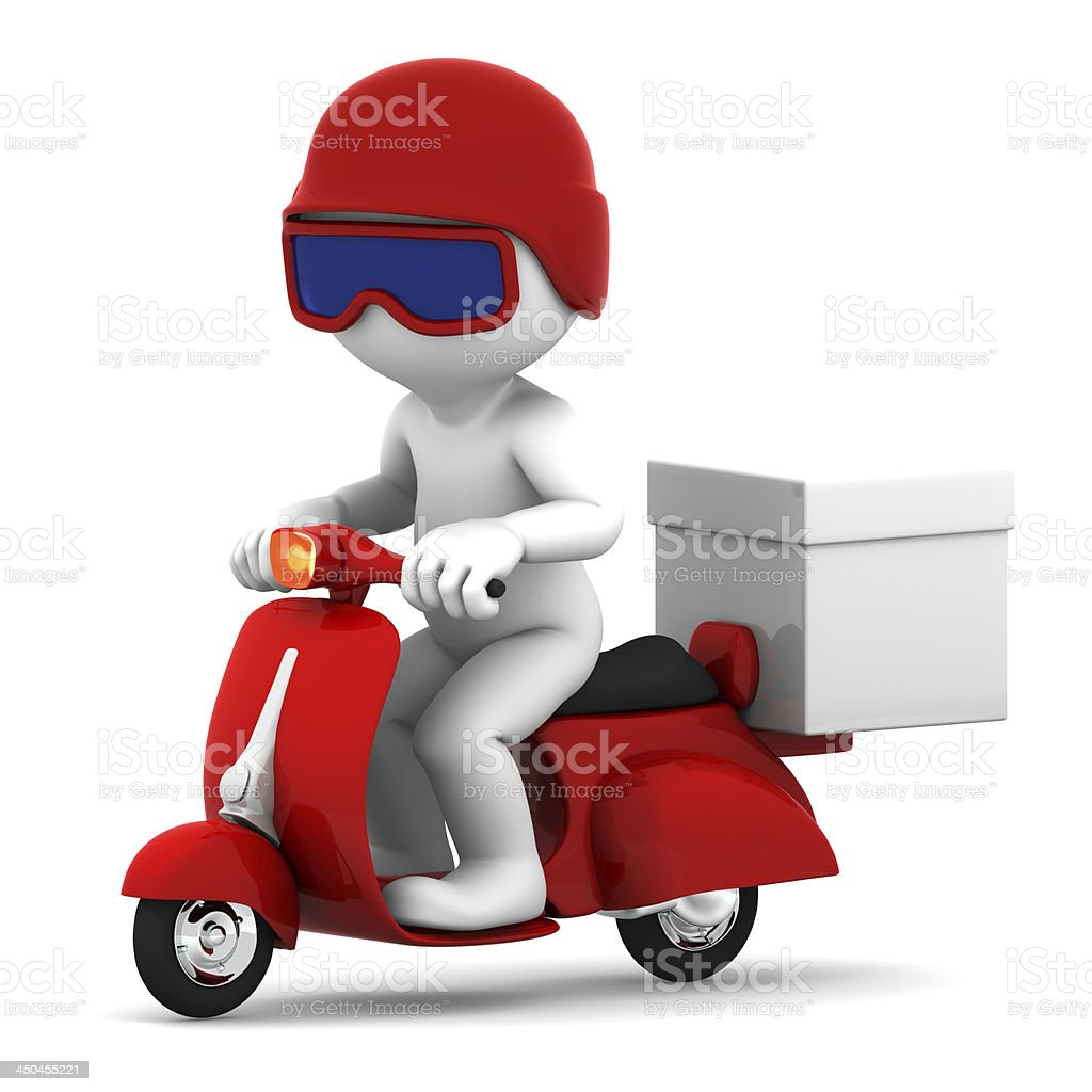 Delivery scooter with big white box royalty-free stock photo