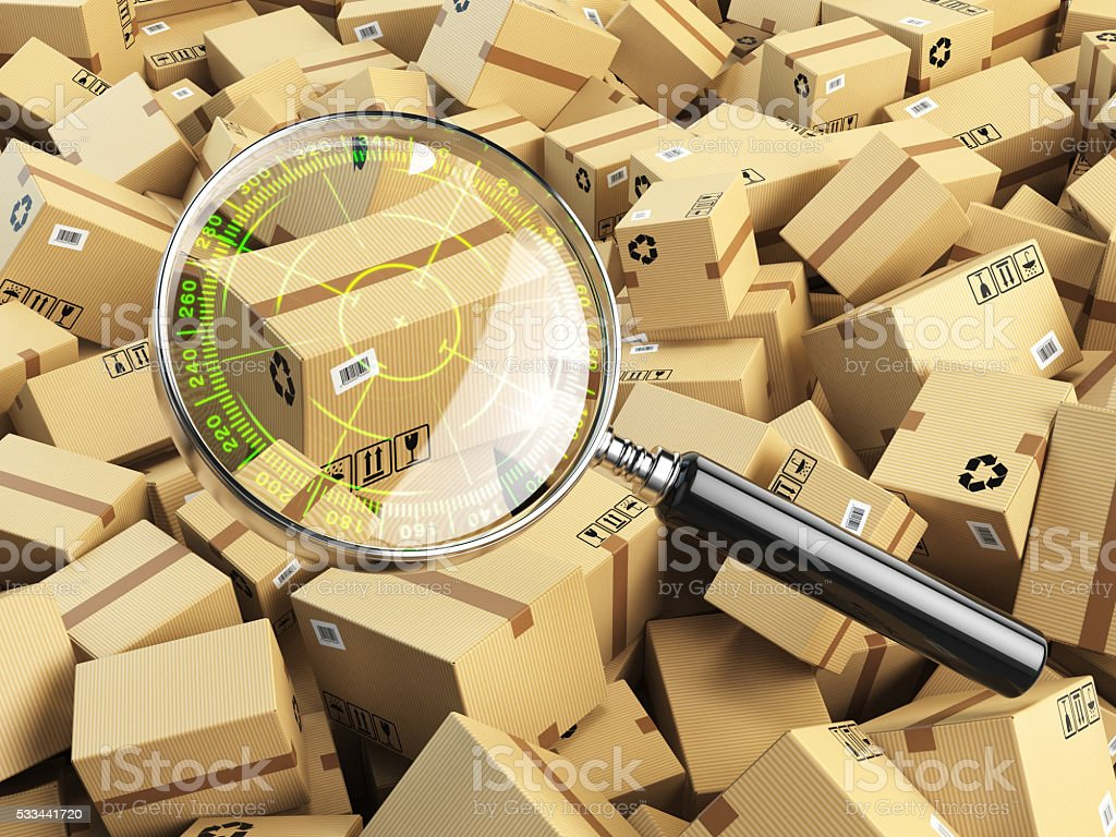 Delivery, shipping, logistics concept. Cardboard box tracking se stock photo