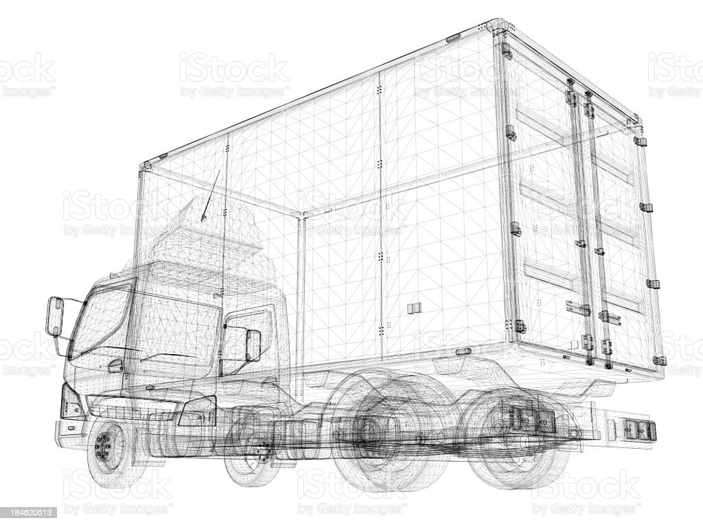 Delivery truck Blueprint royalty-free stock photo