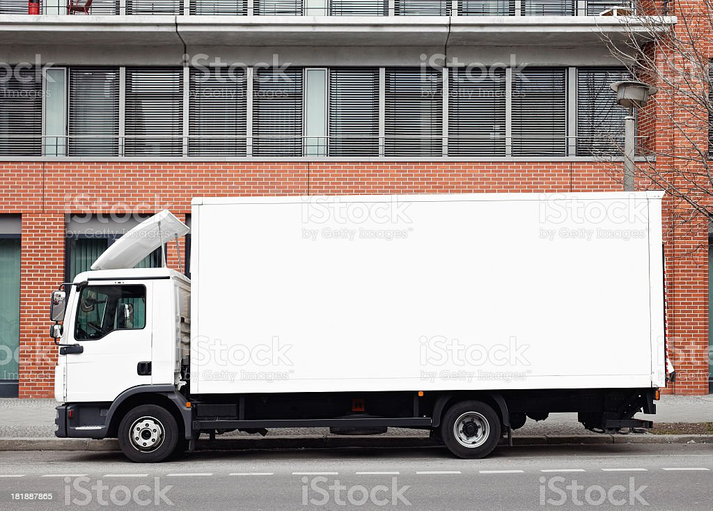 Delivery truck with clipping path stock photo
