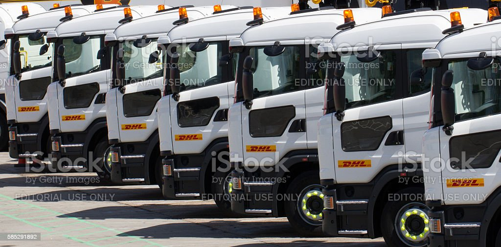 DHL Delivery Trucks stock photo