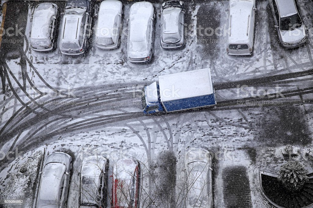 delivery under snow stock photo