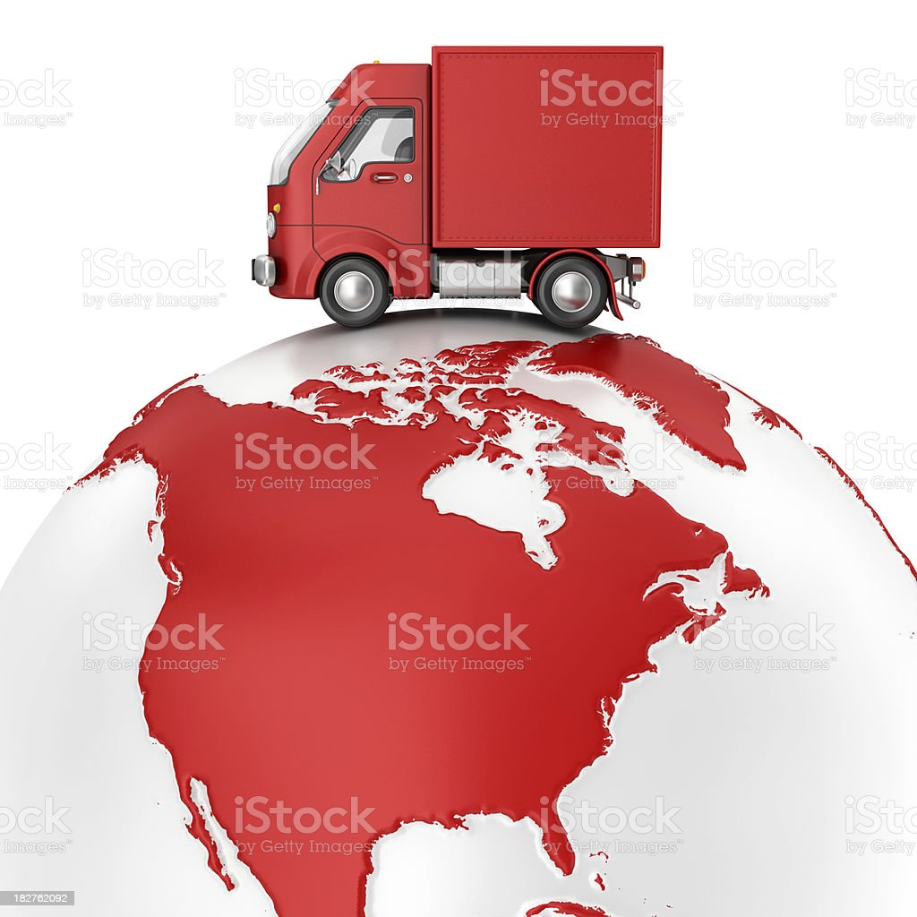 delivery van on earth stock photo