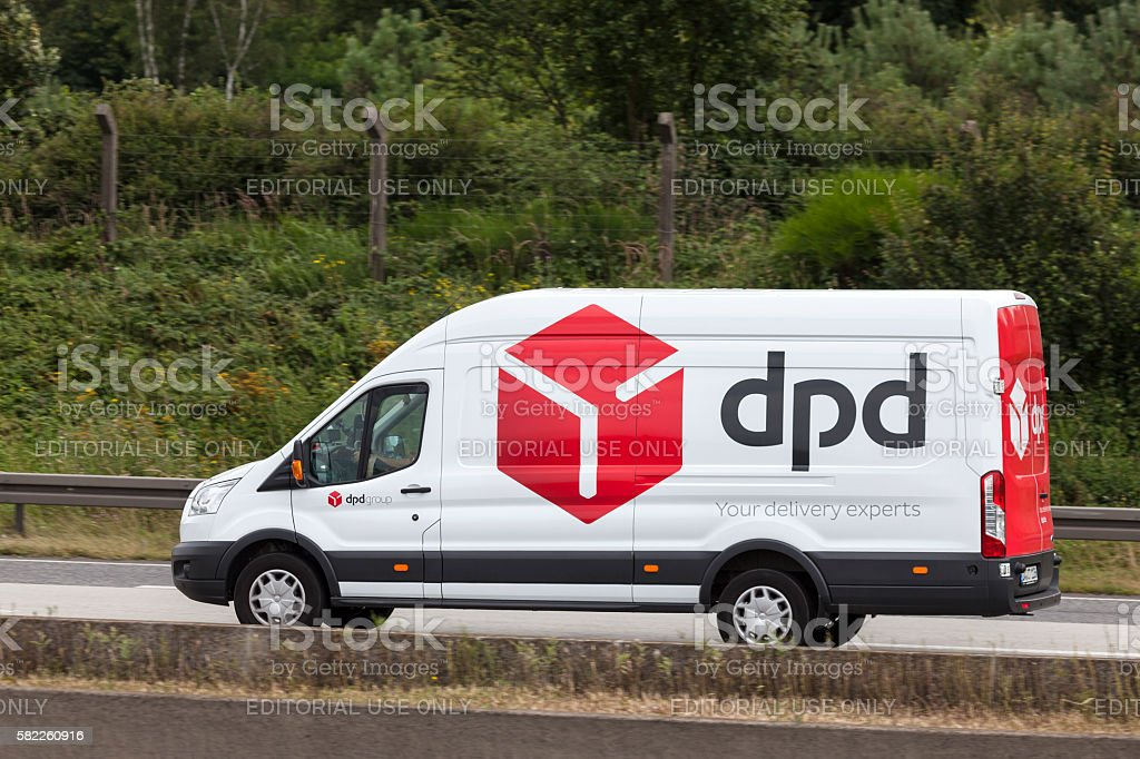 DPD delivery van on the highway stock photo