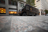 UPS delivery van parked at the street. USA New York