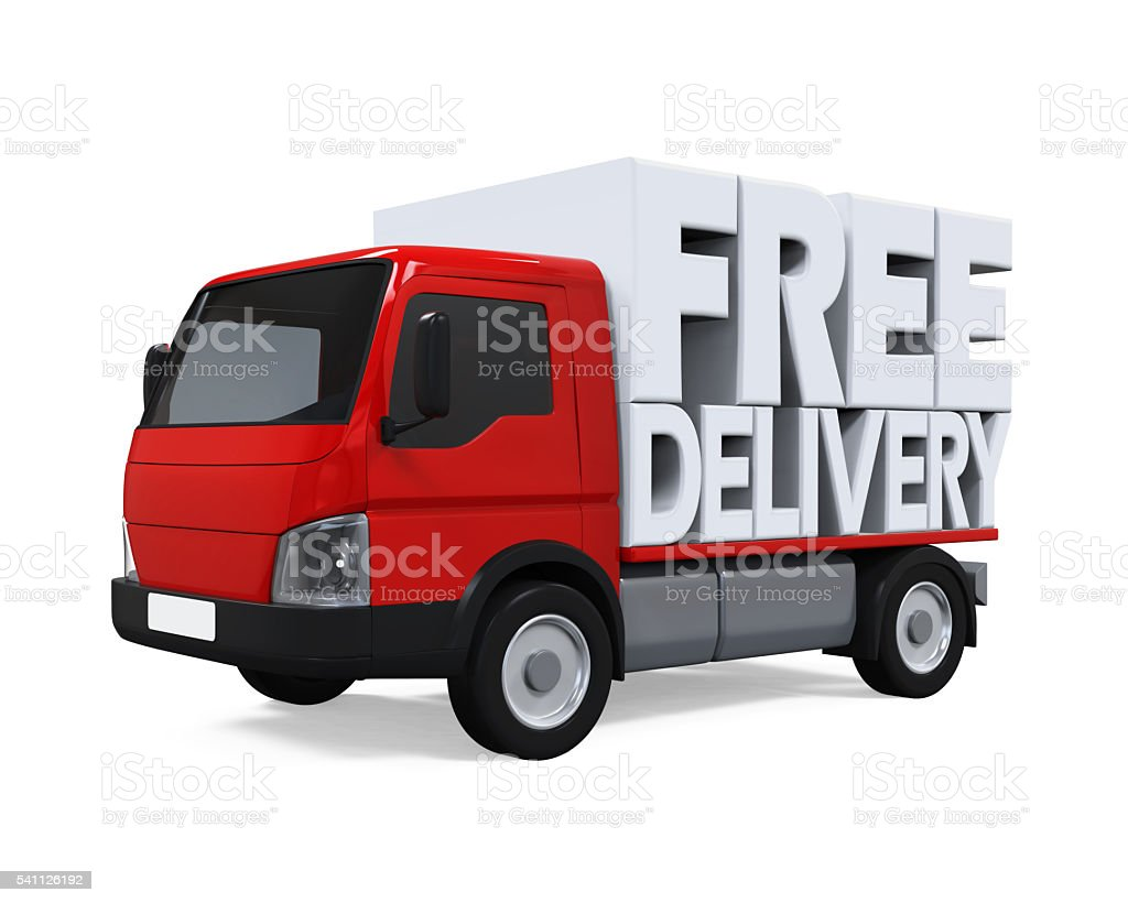 Delivery Van with Free Delivery Text stock photo