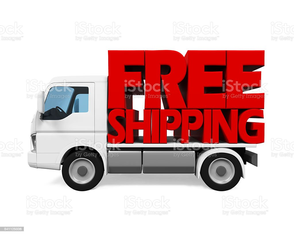 Delivery Van with Free Shipping Text stock photo