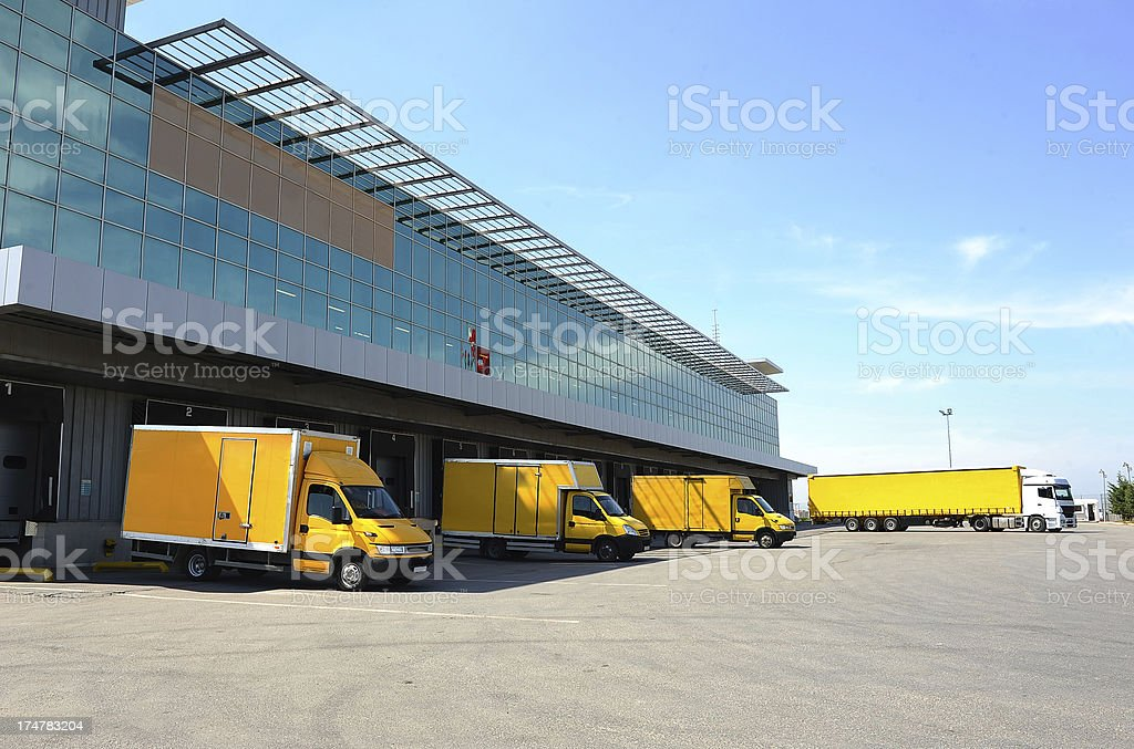 Delivery vans and lorry stock photo